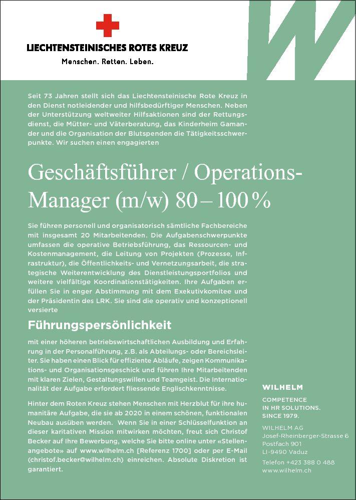 Stellenangebot: Geschäftsführer/Operations-Manager (m/w) 80-100%